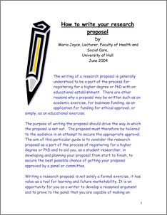 Managing Research How To Write Your Research Proposal