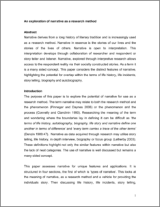 narrative research paper example